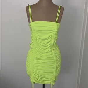 Yellow ruched Dress never worn